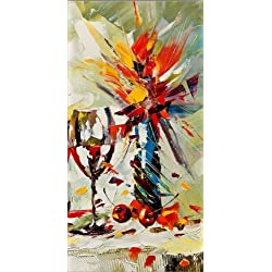 Startonight Canvas Wall Art Glass and Vase, Kitchen USA Design for Home Decor, Dual View Surprise Artwork Modern Framed Ready to Hang Wall Art 23.62 x 47.2 Inch 100% Original Art Painting!