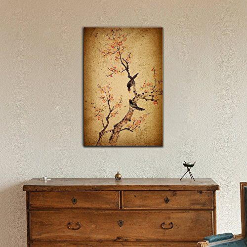 Traditional Chinese Painting of Flowers Plum Blossom and Two Birds on Tree