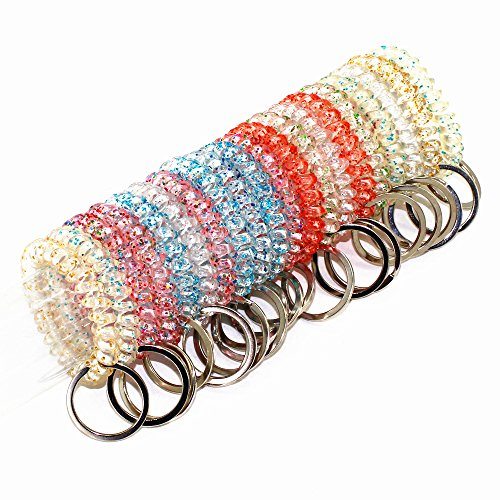 20 Packs Mix Color Plastic Coil Stretch Wristband Elastic Stretchable Spiral Bracelet Key Ring/Key Chain/Key Hook/Key Holder for Gym, Pool, ID Badge and Outdoor Sports (Transparent)