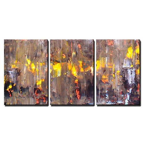 "wall26 - 3 Piece Canvas Wall Art - Brown and Orange Abstract Art Painting - Modern Home Art Stretched and Framed Ready to Hang - 24""x36""x3 Panels"
