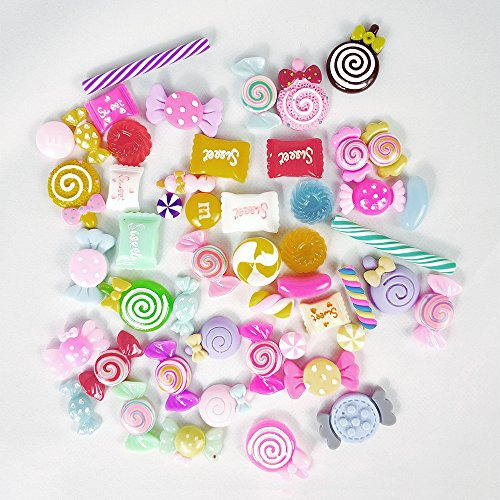 50 Pieces Slime Charms Candy Beads for DIY Crafts Scrapbooking -