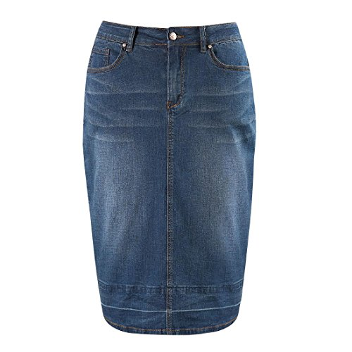 (MSSHE Plus Size Knee Length Denim Pencil Skirts for Women 22W)