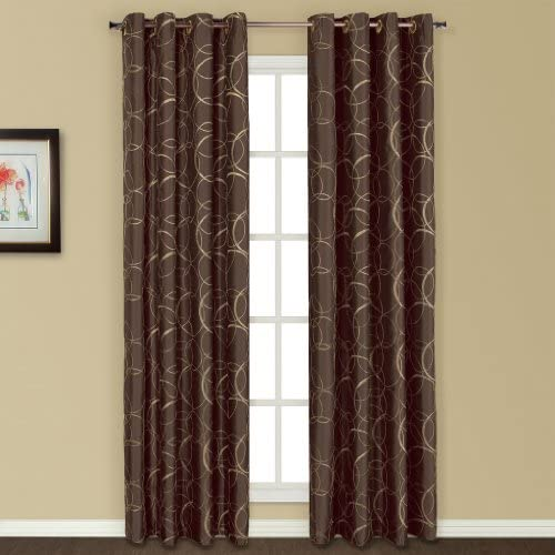United Curtain Sinclair Embroidered Window Curtain Panel, 54 by 63-Inch, Chocolate
