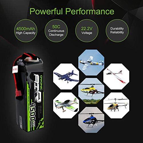 OVONIC Lipo RC Batterie 2 Packs 22.2V 4500mAh 50C 6S Deans Plug RC Quadricoptère Avion Hélicoptère Voiture Camion