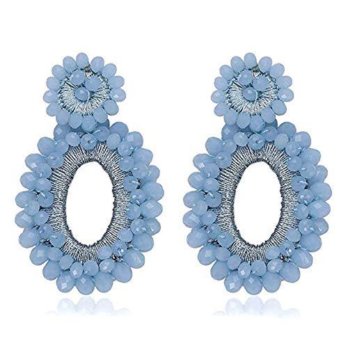 - Statement Drop Earrings - Bohemian Beaded Round Dangle Earrings Gift for Women (C Blue)