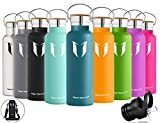 Super Sparrow Stainless Steel Vacuum Insulated Water Bottle, Double Wall Design,Standard Mouth - 500ml & 750ml - BPA Free - with 2 Exchangeable Caps + Bottle Pouch (Dark Green, 500ml-17oz)
