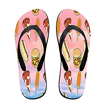 HXXUAN Unisex Non-slip Flip Flops Pizza And Hot Dog Cool Beach Slippers Sandal
