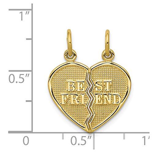 10k Yellow Gold 2 Piece Break-Apart Best Friend Heart Pendant
