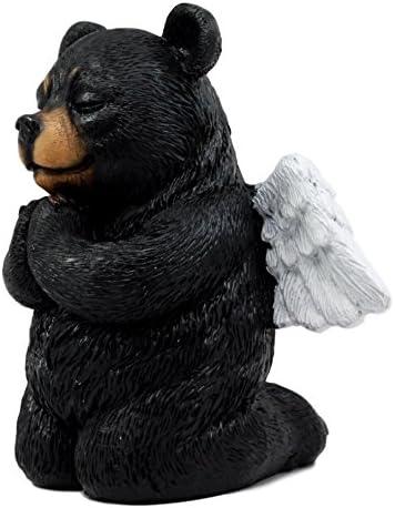 """Praying Angel Black Bear Figurine 5/""""H Kneeling Teddy Cute Cub Home Decor"""