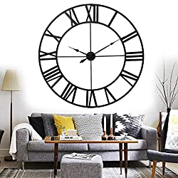 Wall Clocks European Style 3D Large Metal Decorative Roman Numerals Skeleton Silent Black Clock for Kitchen,Bedroom,Garden,Living Room,Study,Office (Size : 80cm/34in)