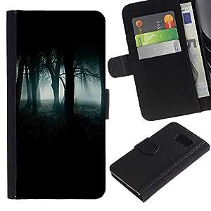 Billetera de Cuero Caso Titular de la tarjeta Carcasa Funda para Samsung Galaxy S6 SM-G920 / Forest Green Mist Fog Dark Spooky / STRONG