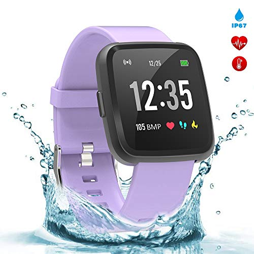 (BingoFit Legend Smart Watch Fitness Tracker, Activity Tracker 1.3'' IPS Color Screen Health Watch IP67 Waterproof Fitness Watch HR BP Oxygen Sleep Monitor, Pedometer Watch for Women Men Kids(Purple))