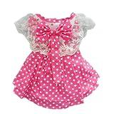 Pink Princess Polka Dot Dog Dress for Dog Shirt Fashion Cozy Dog Clothes Free Shipping,XS, My Pet Supplies