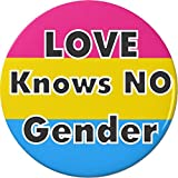 "LOVE Knows NO Gender Pansexual Flag 2.25"" Large Pinback Button Pin"