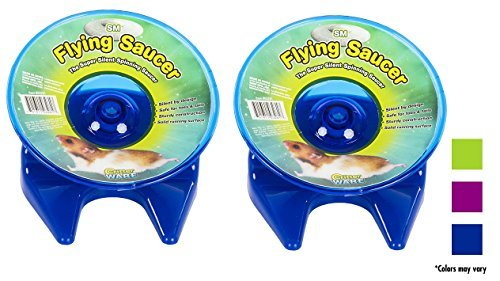 Ware Manufacturing Flying Saucer Exercise Wheel for Small Pets, 5-Inch - Colors may vary (2 Pack) by Ware Manuffacturing