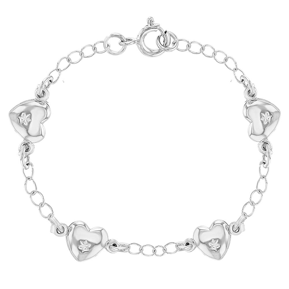 In Season Jewelry 925 Sterling Silver Heart Love Bracelet for Toddlers or Little Girls 5 SS-02-00078