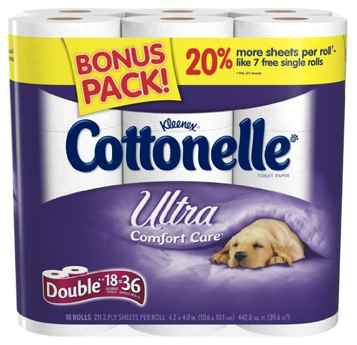 Kleenex Cottonelle Ultra Double Roll, (2x Regular), 2 Ply, White, 18 Pack (Pack of 2)