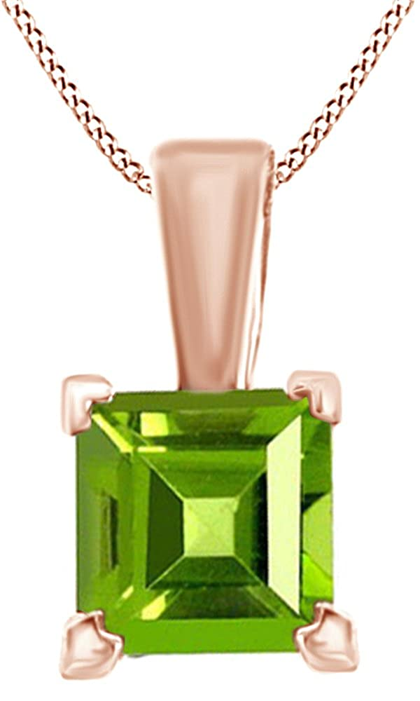 AFFY Princess Shape Solitaire Simulated Peridot Pendant Necklace in 14k Gold Over Sterling Silver 3.5 Cttw