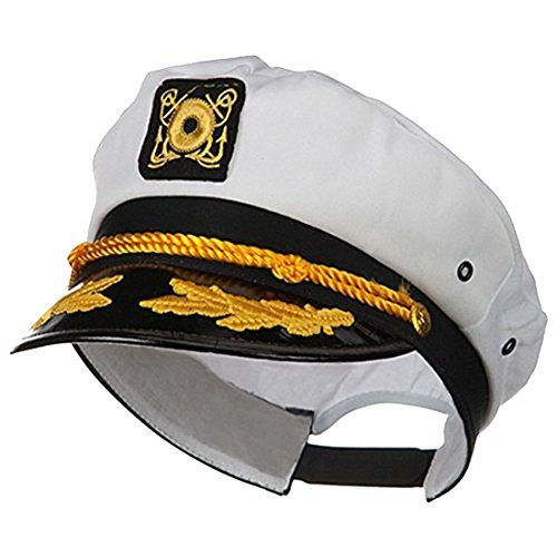 Sailor Ship Yacht Boat Captain Hat Navy Marines Admiral Cap Hat White Gold 23400 -