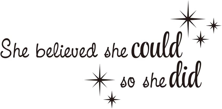 KYSUN She Believed she Could so she did Vinyl Wall Decal Inspirational Quotes Lettering Faith Motto Art Letters Stars Kid Girls Room Decor