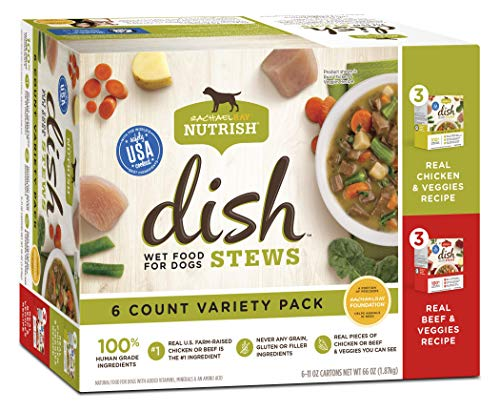 Rachael Ray Nutrish Dish Stews Natural Grain Free Wet Dog Food Variety Pack, 11 oz. (Pack of 6)