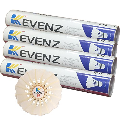 48 Pack Kevenz Advanced Goose Feather Shuttlecocks,77 Grains medium Speed Badminton Balls