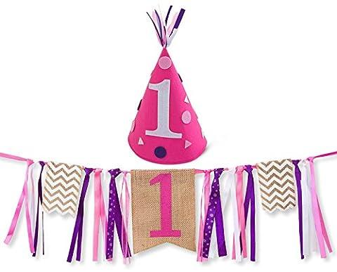 Girl First Birthday Decorations - 1st Birthday - Burlap Highchair Banner and Felt Hat Pack (1st Birthday Girl Pin)