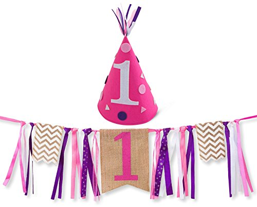 Girl First Birthday Decorations - 1st Birthday - Burlap Highchair Banner and Felt Hat Pack (Sofia The First Cupcake Stand)