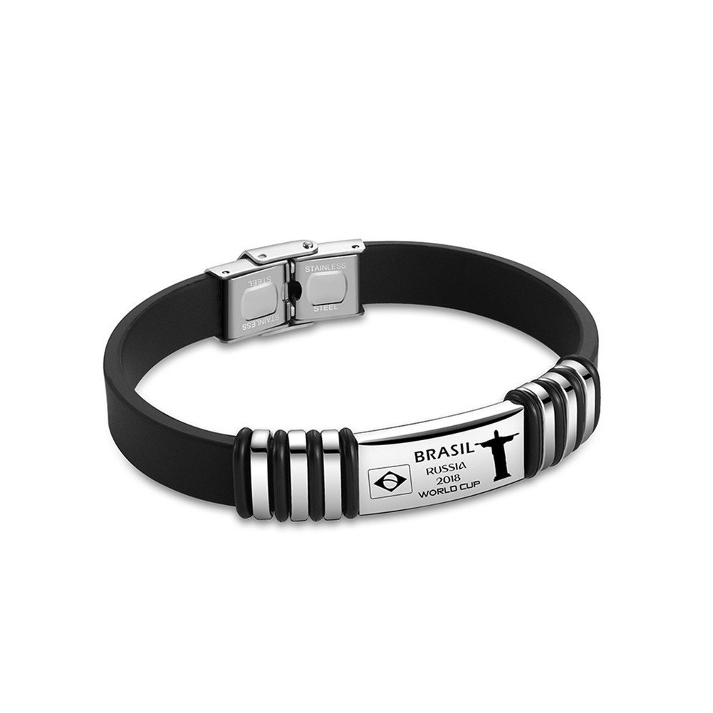 LF 316L Stainless Steel Silicone 2018 World Cup Flag ID Bracelets Inspirational Partriotic Spirit Rubber Wristband for 2018 FIFA World Cup Sports Fans Supporting Soccer Fans LiFashion LF-B274-Brasil