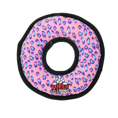 TUFFY Ultimate Ring, Durable Dog Toy (Regular, Pink Leopard)
