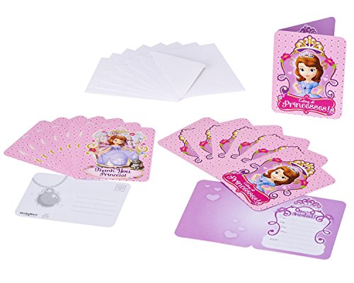 Sofia the First Invite and Thank You Combo, 8 Pack, Party Supplies]()