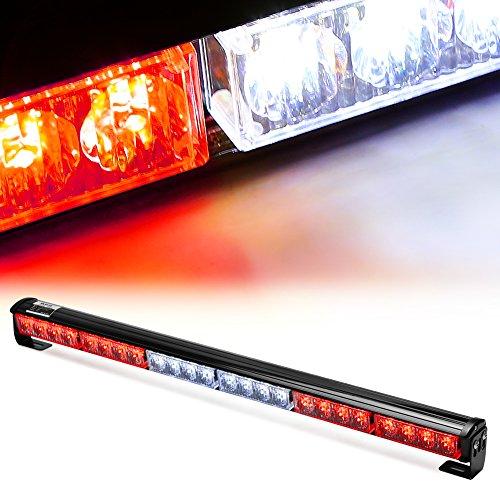 Rupse 24 LED 27″ Hazard Emergency Warning Tow Traffic Advisor Flash Strobe Light Bar (Red and white)