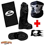 Motorcycle Boot Covers - Full Shoe Slip Over w/Carry Bag, Decal & Face Mask (XL)