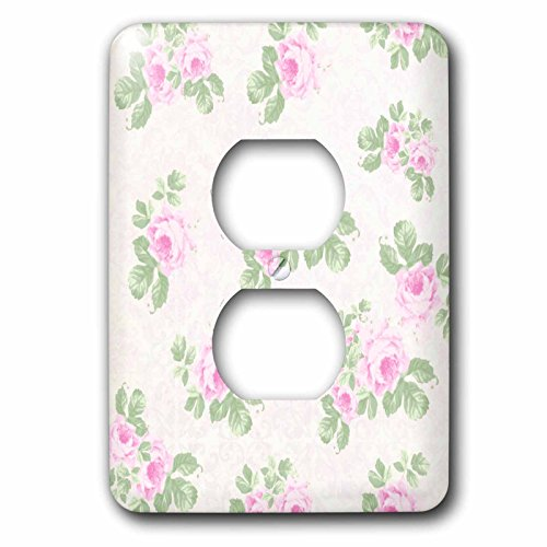 Floral Outlet Cover - 3dRose lsp_120173_6 Vintage Pink Roses Pattern - Rose Flowers On Light Cream Damask - Shabby Chic Sun-Faded Look Floral - 2 Plug Outlet Cover