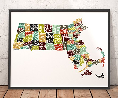 MASSACHUSETTS Map Art Print, Typography Map Art, State Map Wall Décor featuring city names, artist signed print from hand-drawn city typography series of maps