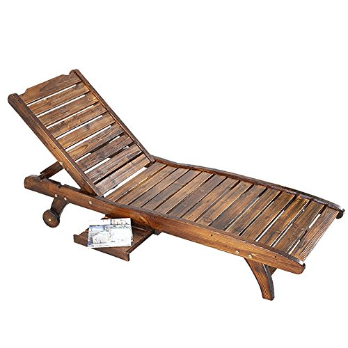WSSF- Relax Lounge Chair Outdoor Beach Seaside Deckchairs Solid Wood Carbonized Anti-corrosion Recliners Swimming Pool Balcony Garden Leisure Lazy Sun Loungers Chair