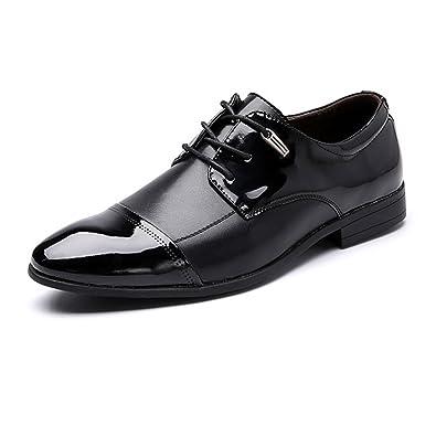 Yaojiaju Klassische Herrenschuhe, PU-Leder Loafers Slip-on Weiche Sohle Business Breathed Ausgekleidet Oxfords für Männer (Farbe : Black, Size : 41 EU)