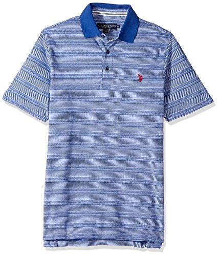 (U.S. Polo Assn. Men's Classic Fit Striped Short Sleeve Pique Polo Shirt, 8344-Barcelona Blue, L)