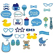 Boys Baby Shower - Photo Booth Prop Kit - Party Set of 29 Cute Decorative Pieces