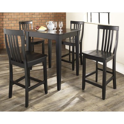 5-Piece Pub High Dining Set with Tapered Leg and School