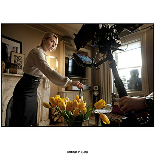 Carnage (2011) 8 Inch x 10 Inch photograph Kate Winslet Standing Over Yellow Tulips BTS PHOTOGRAPH
