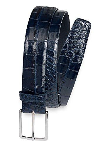 Paul Fredrick Men's Italian Crocodile Embossed Leather Belt Navy 34