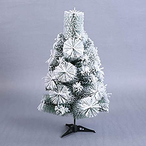 chipsua mini artificial christmas tree small flocking snow xmas pine tree 60cm new year home desktop - Decorating A Small White Christmas Tree