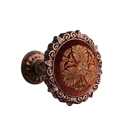 (Chictie Decorative Window Drapery Medallion Holdbacks Flannelette Embroidered Wall Hooks Hanger for Curtain Scarf Valance (Vintage Copper))