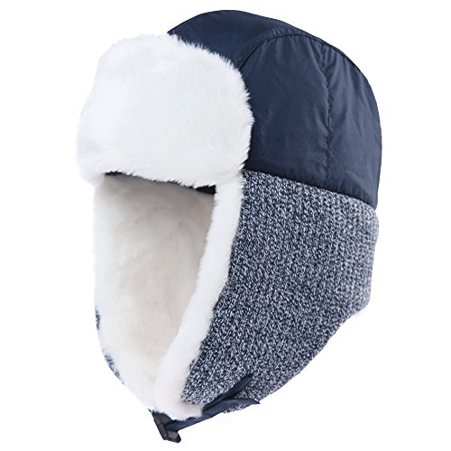 Hat Aviator Earflap Hat Faux Fur Warm Winter Hat for Men Pilot Soviet Russian Ushanka Hats ()