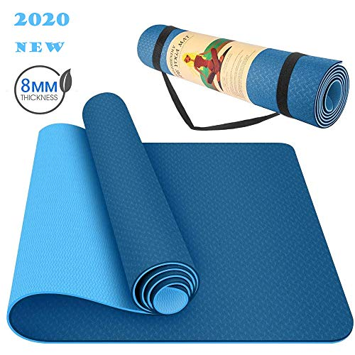 LACHO 1/3 Inch Yoga Mat 8mm Extra Thick, Exercise Fitness Eco Friendly TPE Workout Mat for Yoga Pilates with Carrying…