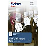 Avery Textured White Scallop Rectangle Tags, 2 x 1-1/4 Inches, Pack of 24 Tags (41566)