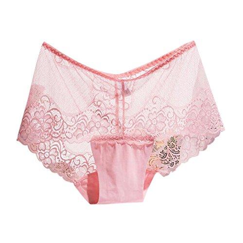 Hzjundasi Damen's Plus Size Nahtlos Atmungsaktiv Lace Unterwäsche Hohe Taille Ladies Höschen Rosa ySpva