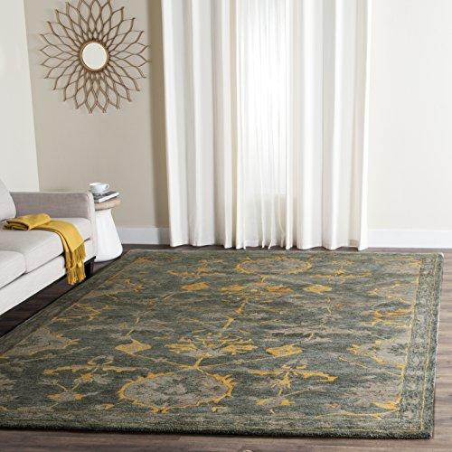 (Safavieh BEL671A-5 Bella Collection Area Rug, 5' x 8', Blue Grey/Gold)