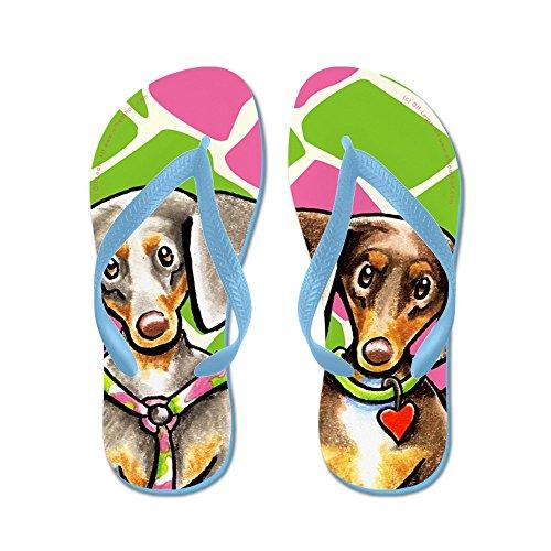 CafePress Dappled Dachshunds Wild Thing - Flip Flops, Funny Thong Sandals, Beach Sandals Caribbean Blue